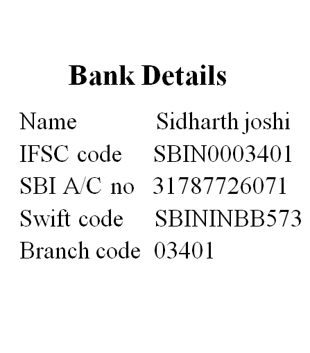 bank details astrologer sidharth